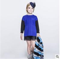2014 new autunm D girls long dress kids blue dress girls fashion red cloth 2 colors