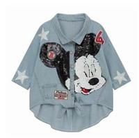 2014the New Women's Denim Jacket Sequined Stars Mickey Loose Big Size Irregular Design Popular Wholesale Price Fashion