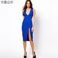 ON SALE! Deep V-neck placketing slim sexy hip tight fitting low-cut fashion one-piece dress