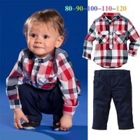 2014 New Autumn Clothing Children Boys Turn-down Collar Plaid Long-Sleeved Shirt Casual Pants Suit Children's Sets