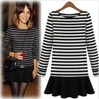 ZA** 2014 autumn winter women's slim stripe dress patchwork knitted long-sleeve female dress desigual conjuntos bolsas femininas