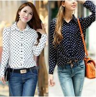 New Hot Fashion Casual Women Blouses Vintage Polka Dot Chiffon Blouses Long Sleeve Lapel Shirts 3 Colors Drop Shipping  KL1011