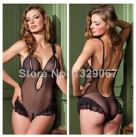 top quality free shipping drop shipping sexy lingerie hot Black Mesh Peek A Boo Rhinestone Teddy
