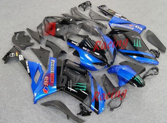 NEW HOT Blue Black Injection Fairings Bodywork Set kit Kawasaki Ninja ZX6R 2007-2008 00067(China (Mainland))