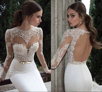Vestidos De Noiva 2014 New Arrival Sexy Long Sleeves Sheer Lace Mermaid Wedding Dresses Satin Bridal Weddings Gowns