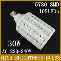 Free Shipping E27/E26/E14/B22 SMD 5730 LED Corn Light Bulb 102LEDs 30W AC 220-240V White/Warm White Angle 360 degress