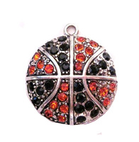 antique silver plated studded with sparkling Basketball Orange and Black crystal sports Pendant,free shipping 60pcs a lot