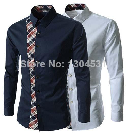 mais nova moda sexy mens linha slim manga comprida casual dress tops camisa blusa 2 m~xxl mn2510101 cores tamanho(China (Mainland))