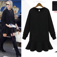 New Women's Hooded Sweatshirts Outwear thick velvet black hoody dress Winter clothes plus XXXL SIZE  C08034