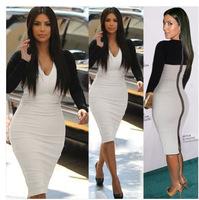 New 2014 Fall Women Long Sleeve Deep V-Neck Back Full Zipper Stretchy Sheath Bodycon Knee-Length Pencil Party Dress S,M,L,XL