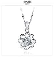Free shipping! retail Stylish design 925 silver pendant with zirconia for woman flower pendant DZ--BFSJ0802