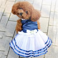 dreambows Dog Bow Striped Lace Tutu Navy Skirt #dd1012 Pet Wholesale Princess Dress