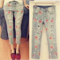 (WJS014) 2014 Paint Hole Multicolour Doodle Print Vintage Rose Capris Ripped Female Denim Jeans Pants