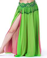 1pcs/lot free shipping woman Belly Dance Chiffon Material Skirt,2-Layer Color 2-Side Split Skirt,High Split Skirt soild colors