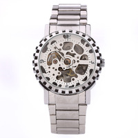 Fashion Brand Stainless Steel Double-Sided Hollow-Out Mechanical Watches, Men's Steel Belt Mechanical Watches Drop Shipping