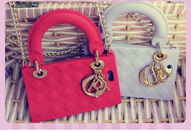 New Arrival Princess Diana Handbag D LOGO Sillicon Chain bag case for iPhone 5S free film(China (Mainland))