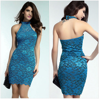 Summer new sexy lace sleeveless dress package hip nightclub dress