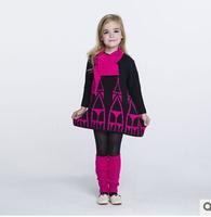 2014 new autunm D girls long dress kids house dress girls fashion cloth 4 colors