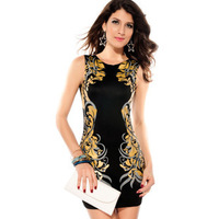 2014 new fashion Slim round neck dress foil printing in Europe and America 2833, Free Shipping