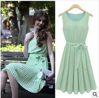 Summer new European style sleeveless  pleated tank dress chiffon round neck dress