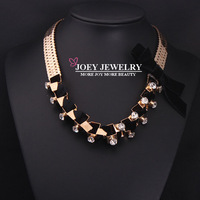 JOEY FreeShipping New Necklaces Women Jewelry Luxury Crystal Flannelette Bowknot Statement Necklaces Chokers Necklaces Pendants
