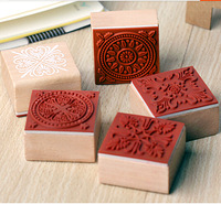 Wholesale,( Lot=6 pcs different styles) DIY Scrapbooking Vintage Wooden Lace Flowers Stamps Photo Album Rubber Ink Pad Stamp