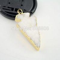 10pcs Nature Quartz Druzy stone Pendant in White color, Arrow shape Gold plated Edged Crystal Drusy Gem stone Pendant