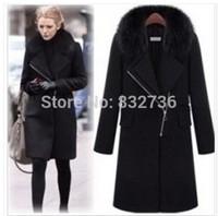 Gossip girl Style New 2014 Winter women Fur collars Fashion Wool & Blends long coat  women's woolen overcoat black XXXL