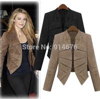 New 2014 Autumn Spring Short Design Suede Leather Jacket Slim Long Sleeve Blazer Coat Women Jackets Plus Size ,Free Shipping