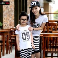 2014 summer big children's plus size clothing  family fashion child stripe male child sports set T shirt and capris pants