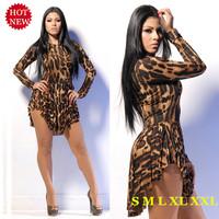 Leopard dress New European Long Sleeve Spring Summer Sexy Leopard Print Dress nightclub Bodycon dress 2014 irregular female XXL