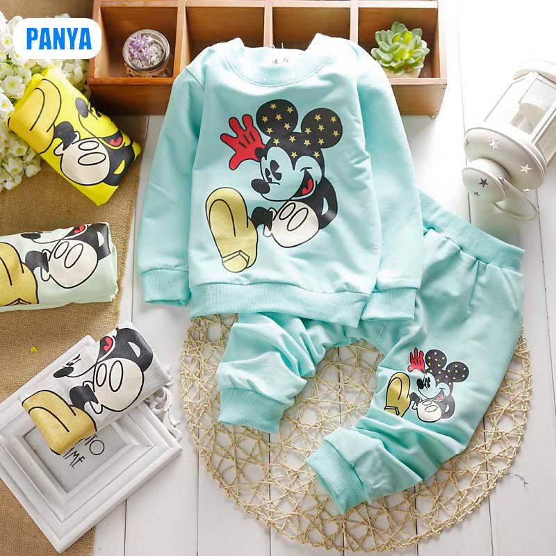 4pcs/lot long sleeve baby set for boy girl Mickey kids set 1-3 Years 2014 autumn baby boy set wholesale PANYA QJS28(China (Mainland))
