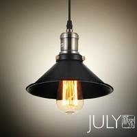 North American style Vintage nostalgic bar table light bulb black iron pendant lights single bar lamps