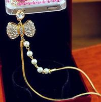 Universal Plating Alloy Rhinestone Pearl Bow Pendant Bracelet Earphone Jack Plug Dustproof Plug Cell Phone Accessories SP046