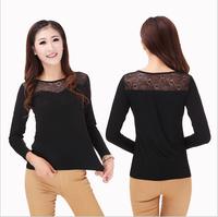 Free Shipping Autunm Slim O-neck Long T-shirt Casual Trendy Burnt T-shirt Women Modal Clothes Tops Tees T-shirt Bottoming shirt