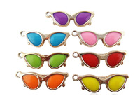 Tops 2014! Fashion Diy Handmade Acrylic Mix Color 60*20mm Sunglasses Jewelry Accessory Pendant cy082