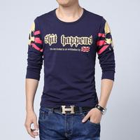 Man Plus size 2014 New Autumn Fashion Skull Printed T-shirt Men Long Sleeve Tshirt Top Quality Cotton Fitness Man T-shirts M-5XL