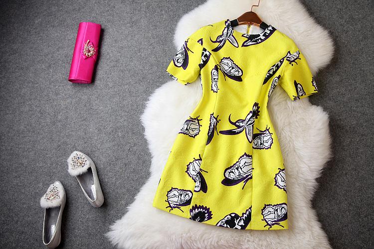 2014 New Casual Short Sleeve Brand Women Dress Vintage Temperament Print Flower Dress Jacquard Elegant Celebrity Dresses T2019(China (Mainland))