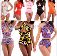 2014 XL Sexy push up print bikinis set Vintage High Waist Bikini swimsuit Ladies'  triagnel bathing suits Hollow Out Swimwear