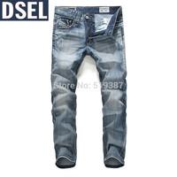 Fashion Casual Jeans ,2014 New Style Famous Brand Men's Jeans,Denim Blue, Cotton Jeans Pants, Blue Straight Jeans Large Size40