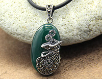 Silver Jewelry 100% Guaranteed Real 925 Sterling Silver Pendant With Green Aagate Marcasite Vintage Jewelry YH48408