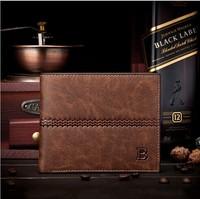 New 2014 Men's Fashion Wallets Genuine Leather Brand Slim Wallet Designer Short Wallet Card Holder Brown Change Purse Free