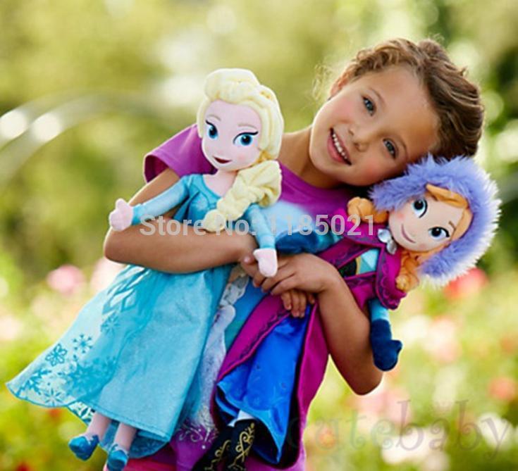 Nueva llegada de bebé de juguete 40-50cm congelados hermanas anna& elsa muñeca de juguete de la felpa juguetes para los niños de los bebés niños suave de peluche de felpa& muñecas