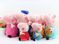 New Peppa Pig Doll Family Set Peppa Grandma and Grandpa Pig Stuffed Plush Doll Toys 6pcs/Lot