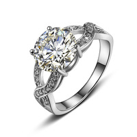 High Quality Clear Crystal Promotion Fashion 18 K Gold Plated CZ Rings For Women