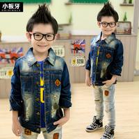 2014 Real New Autumn Winter Jacket Large Children's Clothing Plus Size Male Child Denim Long-sleeve Coat Boys' Outerwear 7578