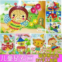 Child diamond painting toys handmade child 3d toy  diy round diamond crystal 3d three-dimensional painting girls gift toys