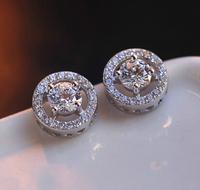 Brand Jewelry Women's 925 Silver Filled White Sapphire CZ Stone Earrings Studs