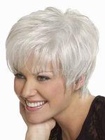 Short Wig Silver Gray Synthetic Hair Wig