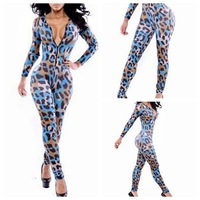 Newest Design Women Sexy Deep-v neck Bandage Jumpsuits Women Elegant Leoaprd Print Full SLeeve Bodysuit European Style Playsuit